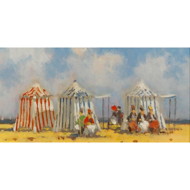 Frederick H. McDuff - Figures With Cabanas at the Beach -Oil Painting For Sale - Image 12 of 12