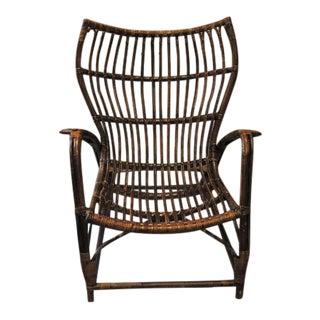 Italian Rattan Bamboo Arm Chair For Sale