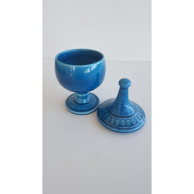 Mid Century Glazed Ceramic Cerulean Blue Compote Apothecary Jar with Lid For Sale - Image 4 of 9