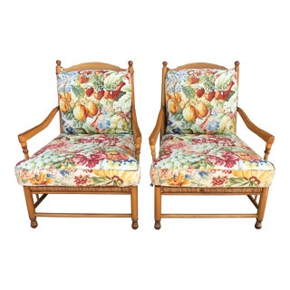 Wesley Hall Floral Rush Seating Chairs - Pair For Sale