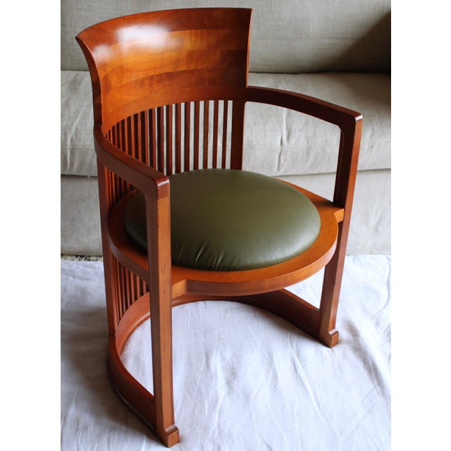 "Vintage Italian Frank Lloyd Wright ""Taliesin 606"" Cherry Barrel Chair For Sale - Image 13 of 13"