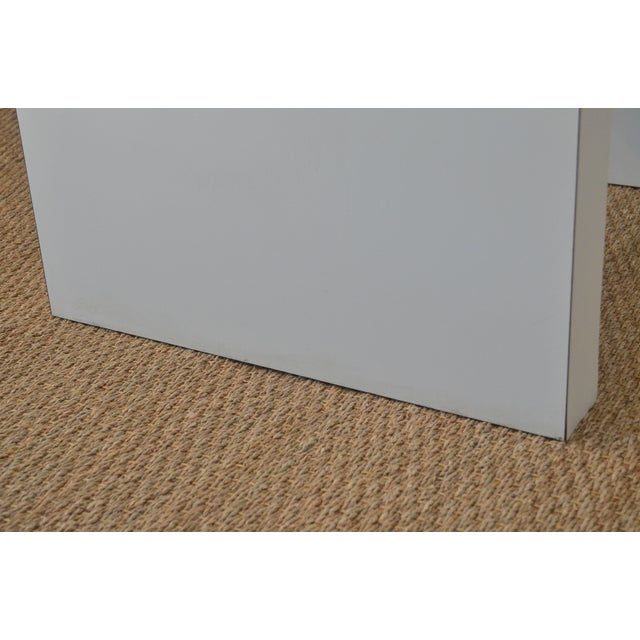 Wood White Laminate Waterfall Table For Sale - Image 7 of 7
