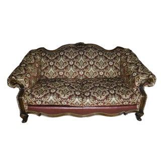 English Traditional Sherrill Burgundy Upholstered Walnut Sofa