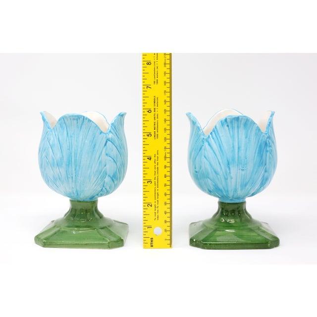 Ceramic Blue Tulip Planters - a Pair - Image 8 of 10