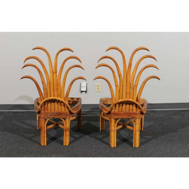 Tan Jaw-Dropping Set of 8 Custom Made Palm Frond Dining Chairs, Circa 1950 For Sale - Image 8 of 13