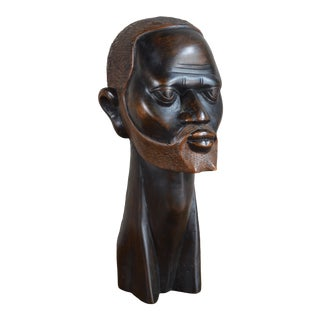 Mid 20th Century Carved Ebony Bust of a Man For Sale