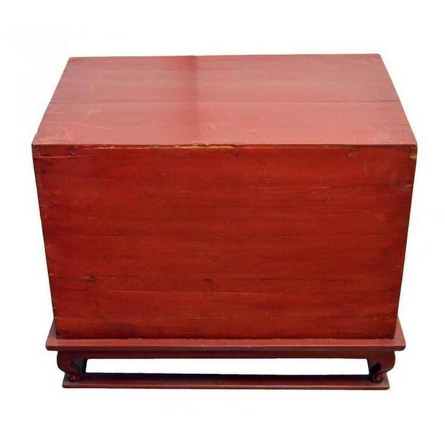 Lacquer Antique Red Lacquer Bedside Cabinet with Hardware from Mid 19th Century China For Sale - Image 7 of 8