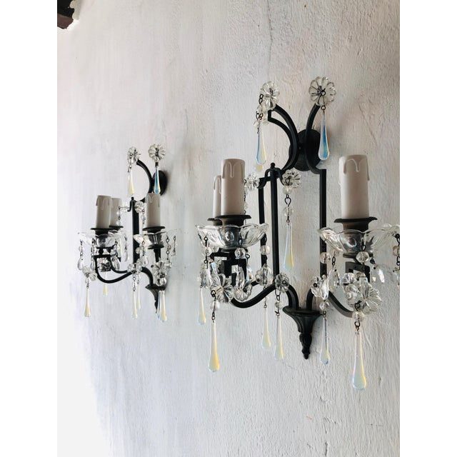 Bronze Bronze Murano Iridescent Drops Crystal French Sconces, circa 1900 For Sale - Image 7 of 9