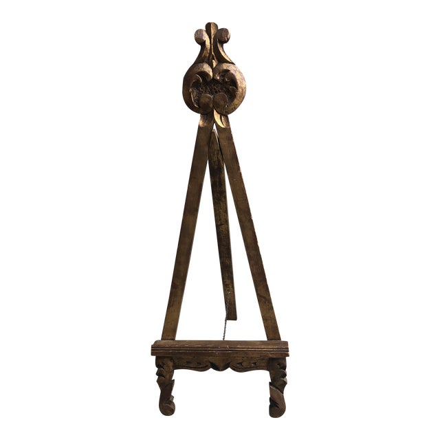 Antique Gold Easel Picture Stand For Sale