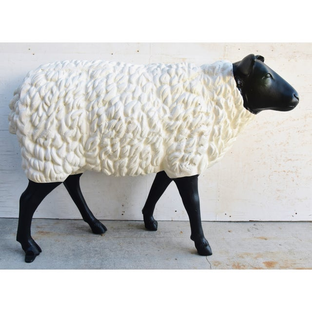 Aluminum Vintage Metal Life-Size Sheep Lamb Garden, Patio, Lawn or House Statue For Sale - Image 7 of 13