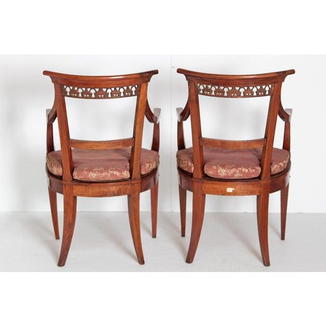 Textile Pair of Italian Neoclassical Armchairs For Sale - Image 7 of 13