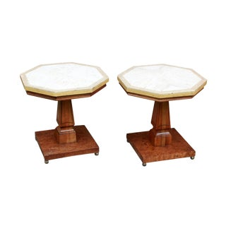 Vintage Hollywood Regency Travertine & Fruit Wood Octagon End Tables - a Pair For Sale