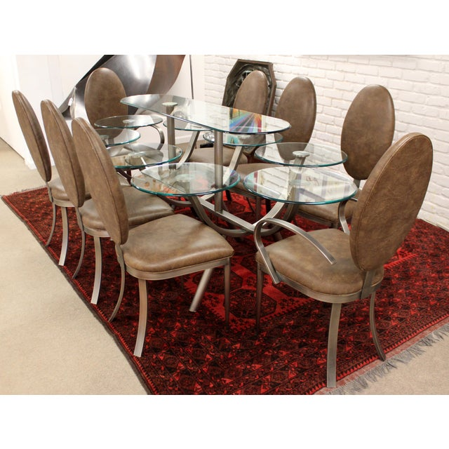 Contemporary Contemporary Modern Dia Circle of Life Dining Set Table Chairs 1980s Glass Steel - Set of 9 For Sale - Image 3 of 12