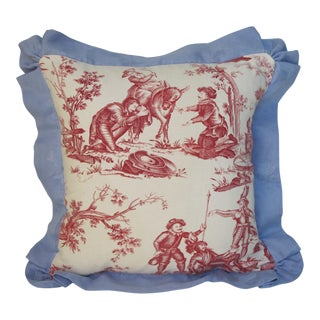 Antique 1880s Don Quixote Scene Toile Pillow II For Sale