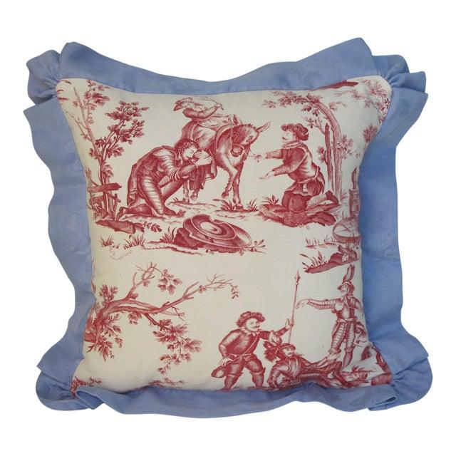 Antique 1880s Don Quixote Scene Toile Pillow II For Sale