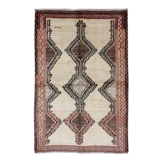 1950s Vintage Persian Gabbeh Rug - 4′7″ × 7′2″ For Sale