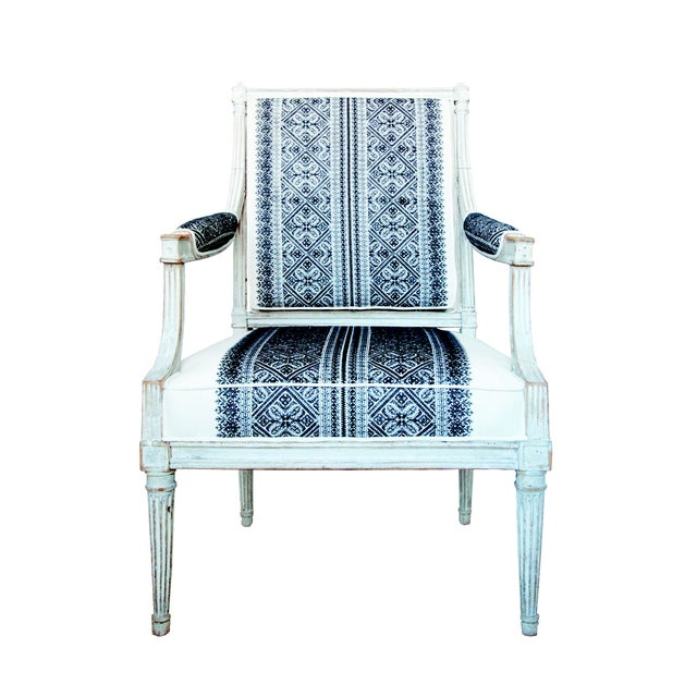 White 18th Century Jean Avisse Signed Hand-Carved Bergère French Armchair For Sale - Image 8 of 8