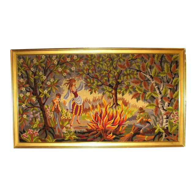 French Mid-Century Hand-Woven Tapestry With Rural Scene For Sale