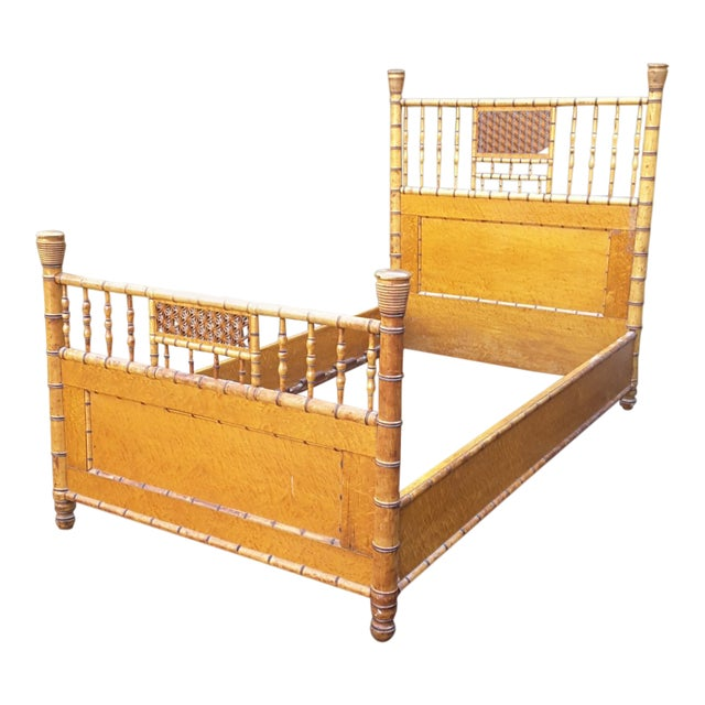 1940s Vintage Birdseye Maple and Faux Bamboo Bed For Sale