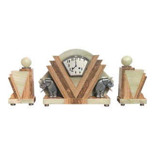 Art Deco Garniture and Clock Set - 3 Pieces For Sale