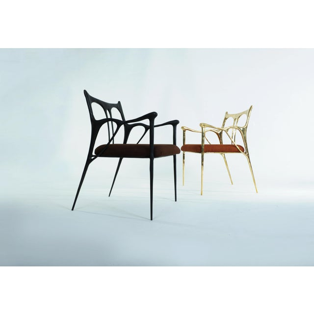 2010s Black Brass Sculpted Brass Chair, Misaya For Sale - Image 5 of 8