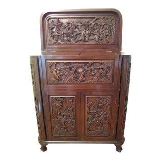 Vintage Asian Carved Teak Cocktail Cabinet From Hong Kong