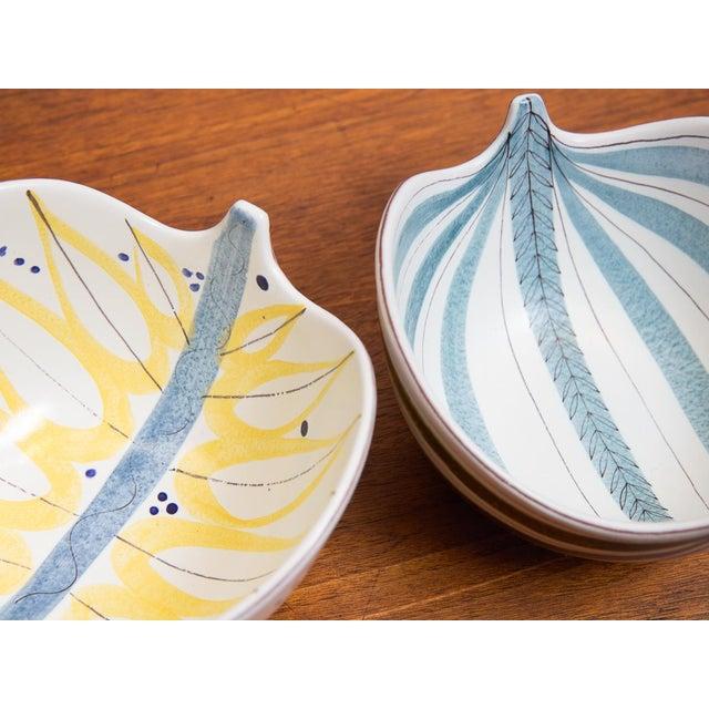 Ceramic 1950s Stig Lindberg for Gustavsberg Faience Leaf Bowls - a Pair For Sale - Image 7 of 11