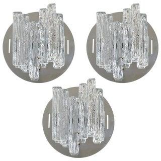 Salviati Geometric Murano Glass Sconces / Flush Mounts (3 Available) For Sale