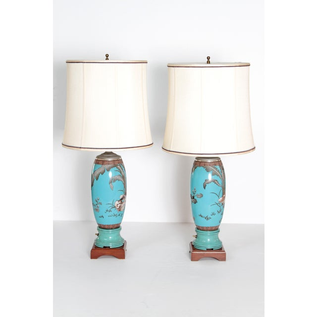 Pair 19th Century of French Cloisonne Lamps - Image 3 of 11
