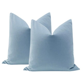 "22"" Cornflower Blue Velvet Pillows - a Pair For Sale"