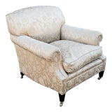 Image of Excellent George Smith Short Scroll Arm Signature Damask Chair For Sale
