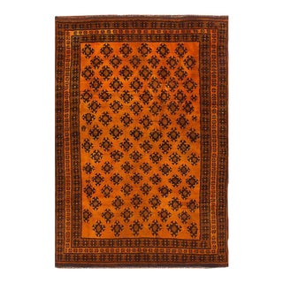 Vintage Afghan Tribal Orange & Copper Rug