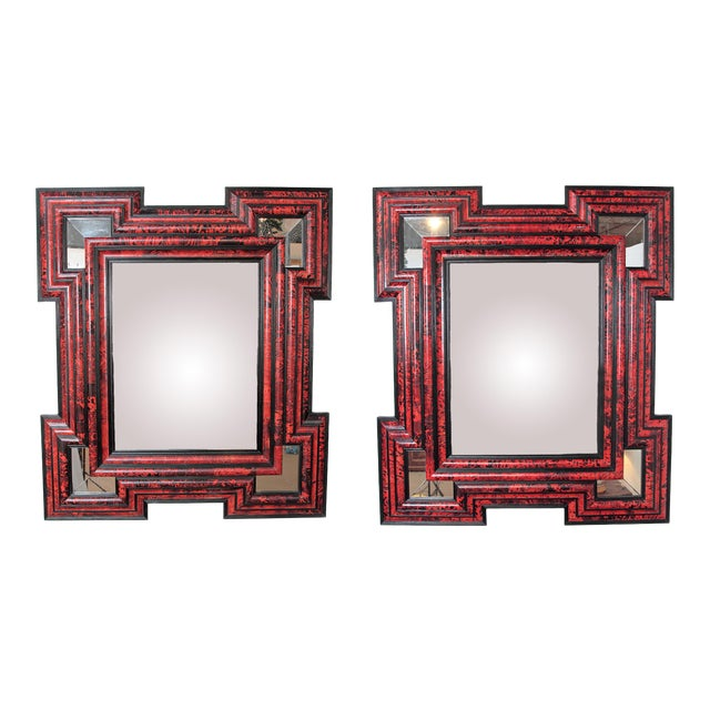 Large Scale Pair of Exceptional Dutch Baroque-Style Red Tortoise Mirrors For Sale