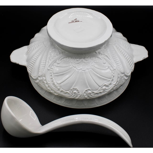 Large Italian Creamware Lidded Tureen With Ladle For Sale - Image 10 of 13