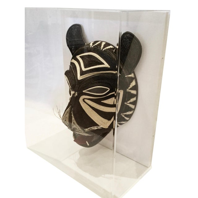 African Handmade Woven Shaman Mask in Lucite Box Frame For Sale - Image 3 of 6