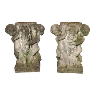 Pair of Early 1900's Reconstituted Stone Putti Planters From Belgium For Sale