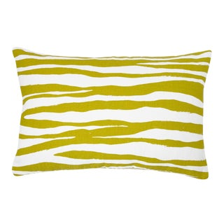 Citrus and White Zebra Printed Lumbar Pillow For Sale