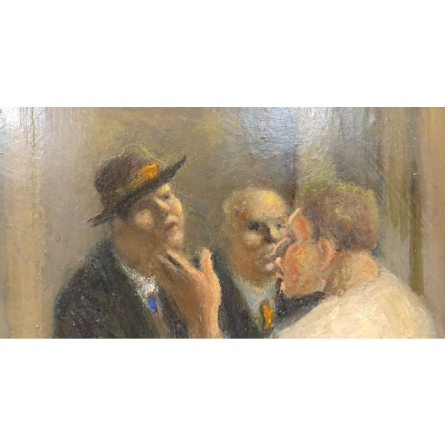 C.H Kelly - Tavern Scene -California Regionalist -Oil painting c.1930s For Sale In Los Angeles - Image 6 of 10