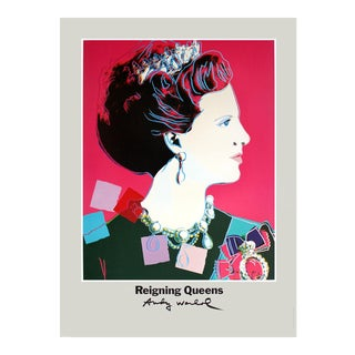 1986 Andy Warhol 'Queen Margrethe II of Denmark' Pop Art Pink Denmark Offset Lithograph For Sale