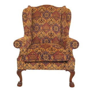 Kindel Robb Collection Chippendale Mahogany Wing Chair For Sale