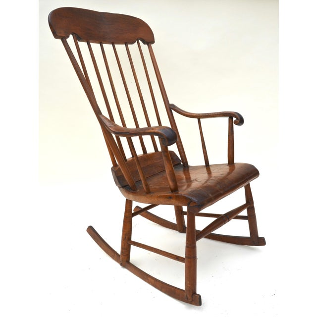 American Antique Primitive Boston Rocking Chair C.1840s For Sale - Image 3 of 11
