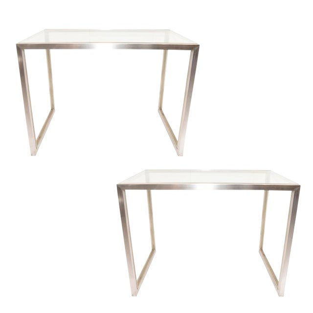Mid Century Modern Brass Chrome And Glass End Tables A Pair