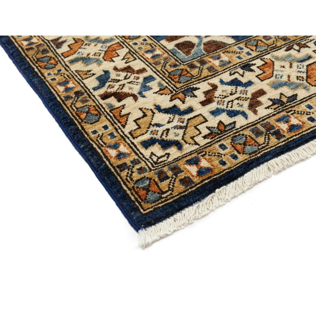 """Serapi Blue & Tan Hand-Knotted Runner - 3' 7"""" X 11' 8"""" - Image 2 of 3"""