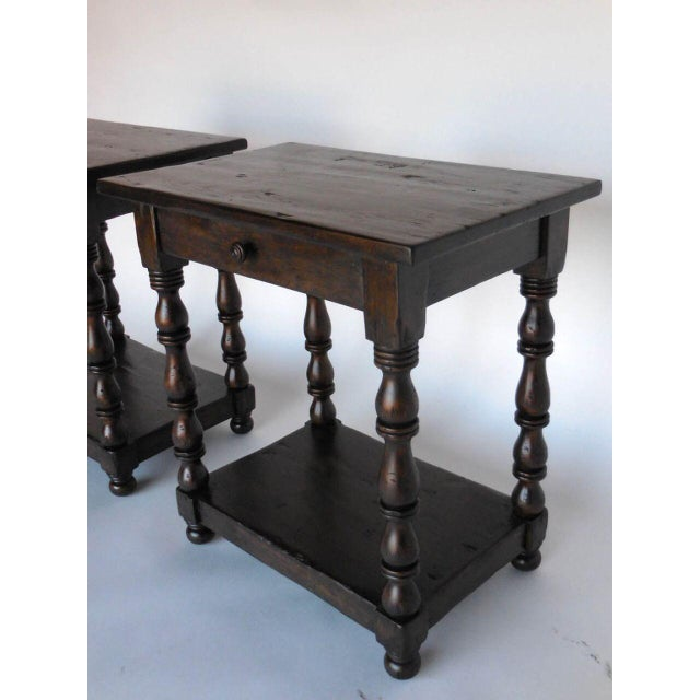 1920s Pair of Custom Walnut Side Tables/Nightstands with Turned Legs, Drawer and Shelf For Sale - Image 5 of 8