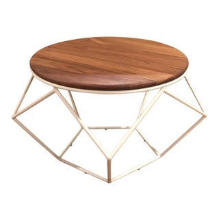 Modern Geometric Origami Table W/ Wooden Top For Sale
