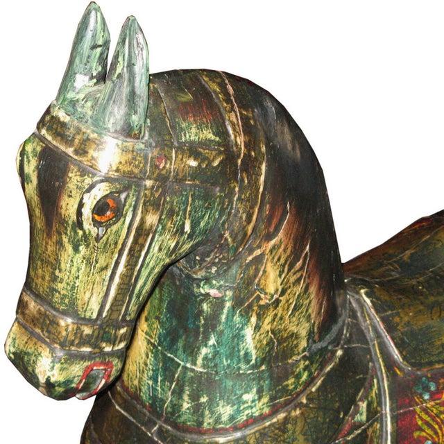 Folk Art Vintage Painted Rocking Horse For Sale - Image 3 of 7