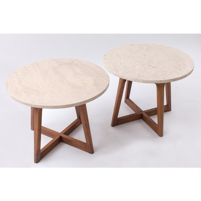 Marble 1960s Danish Modern Marble and Walnut End Tables - a Pair For Sale - Image 7 of 9