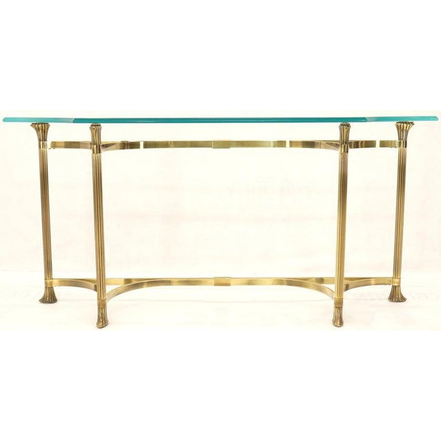 Bent Brass Base Curved Glass Top Figural Console Sofa Table For Sale - Image 6 of 13