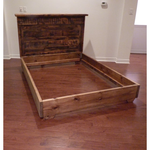 Shabby Chic Reclaimed Wood Queen Bed Frame - Image 2 of 6