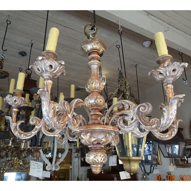 Mid-Century Italian Carved Wood Chandelier For Sale - Image 13 of 13